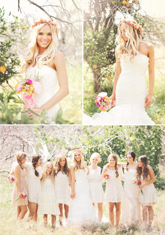 wianek i bukiet z polnych kwiatów dla Pani Młodej