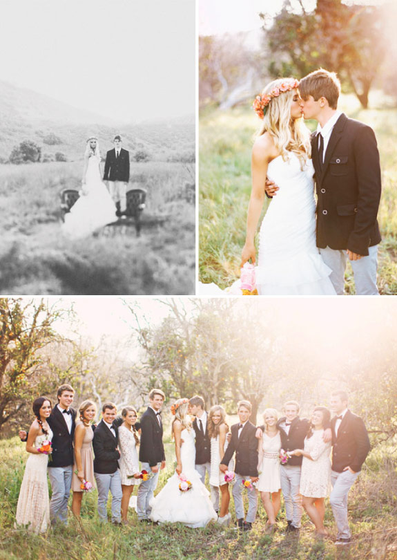 ślub w stylu boho, druhny,drużba i para młodych na wspólnym zdjęciu