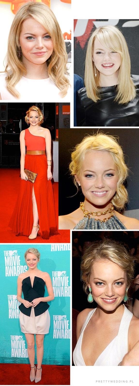 Różne fryzury Emmy Stone