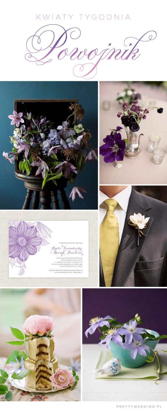 Aranżacje kwiatowe na ślub z powojnika