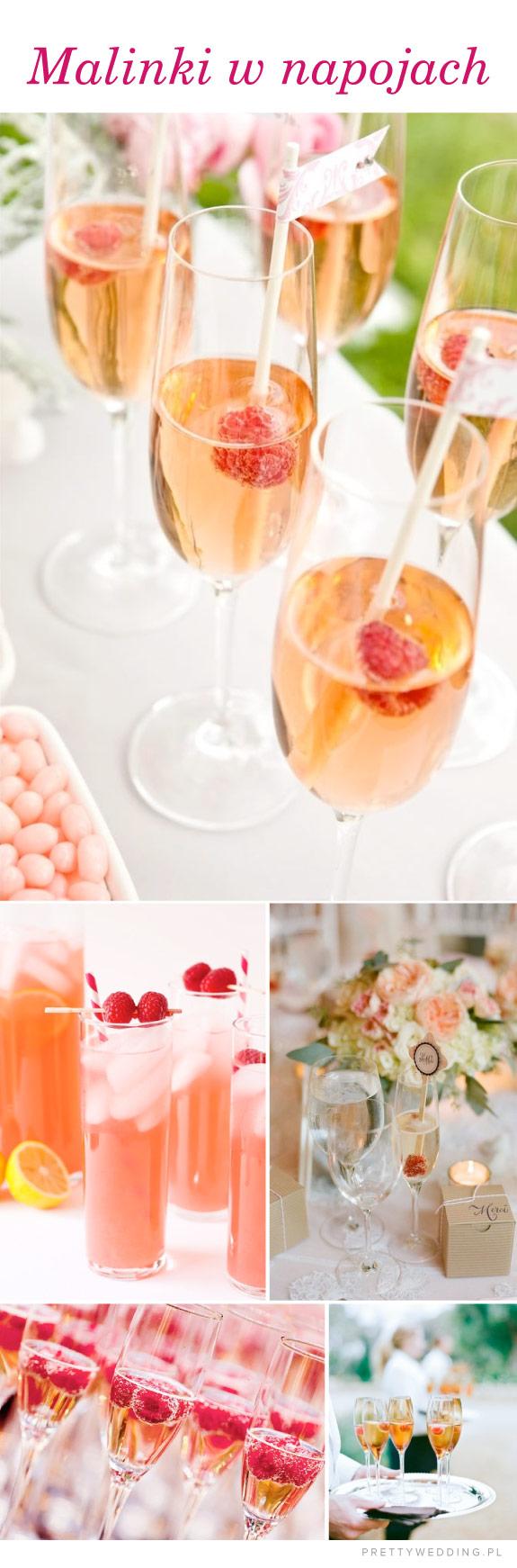 Maliny w szampanie i innych napojach na weselu