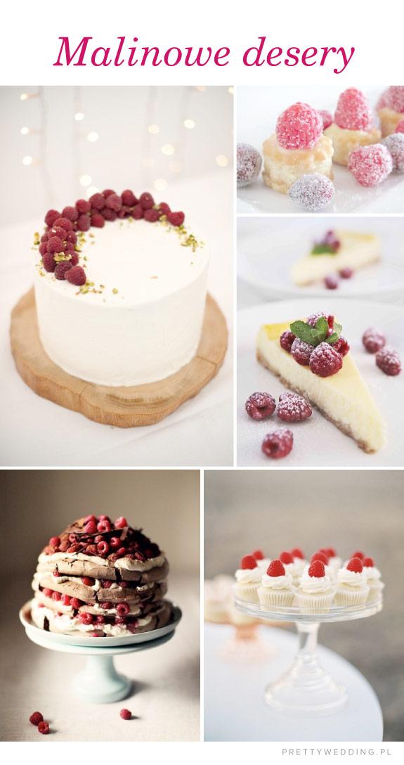 Przykłady deserów z malinami