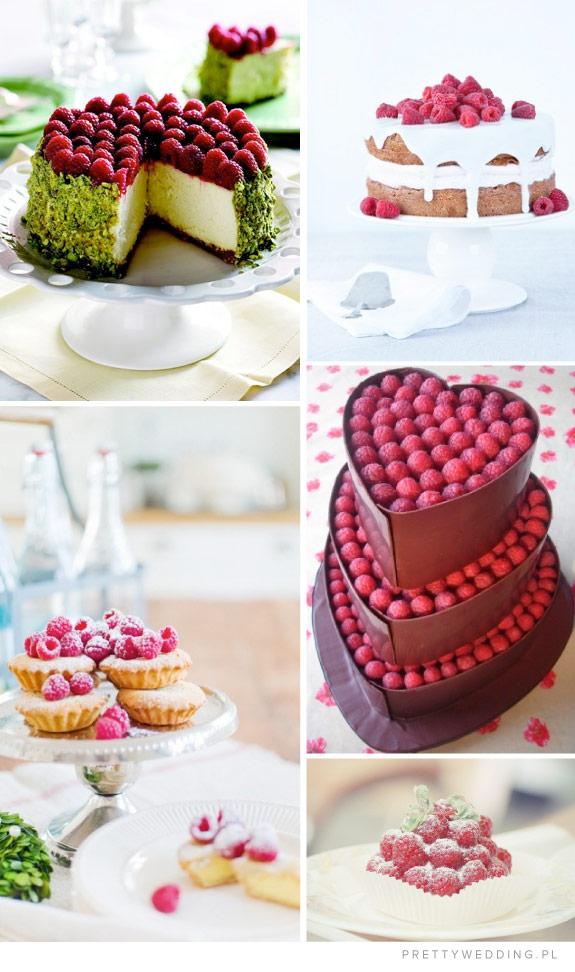 Torty, desery i przekąski z malin na wesele
