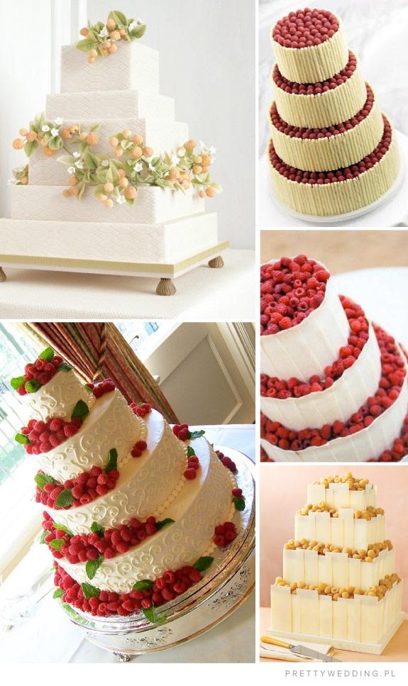 Maliny na tortach weselnych