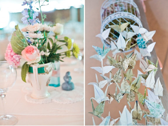 Papierowe ptaszki origami pod sufitem