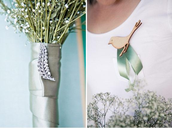Koronkowa suknia ślubna i dodatki z ptaszkami
