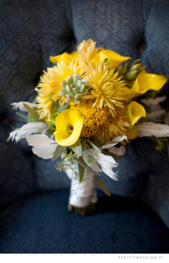 Bukiet ślubny z żółtych chryzantem
