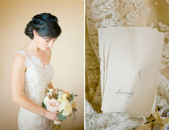Stylowa koronkowa suknia ślubna i bukiet z chryzantem