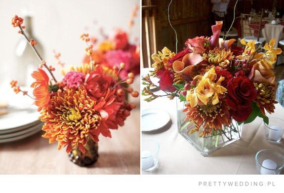 Bukiety w jesiennych kolorach na ślub jesienią
