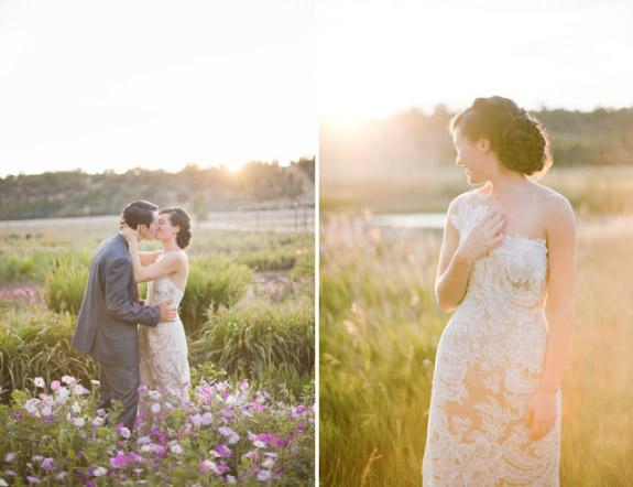 Plener ślubny w promieniach zachodzącego słońca