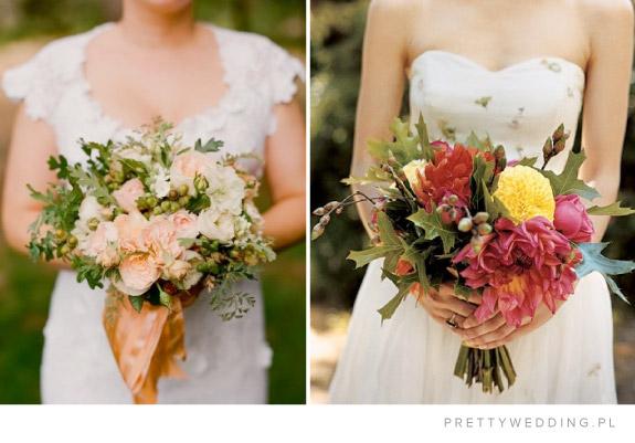Bukiet ślubne w jesiennych koloraz, udekorowane żołędziami