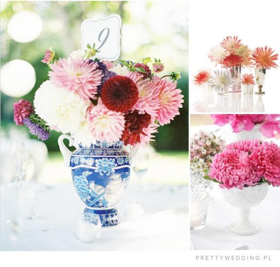 Stylizacje kwiatowe na stołach