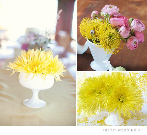 Żółte kwiaty w wazonach na ślubie