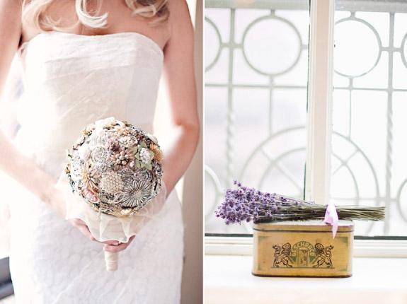 Bukiet ślubny z broszek i biżuterii