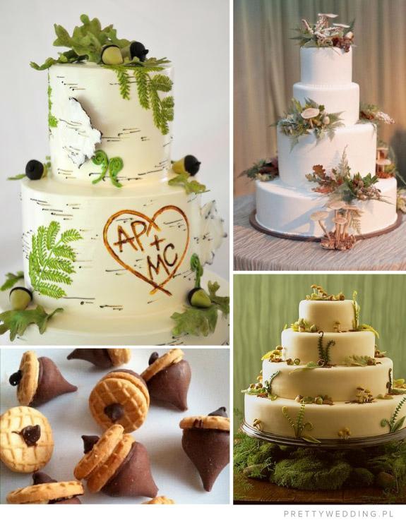 Tort na ślub jesienią z dekoracją z żołędzi