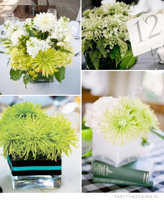 Zielone wiązanki z chryzantem