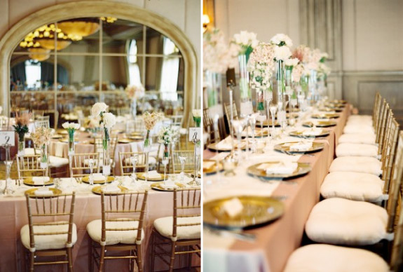 Dekoracja stołów weselnych w stonowanych kolorach