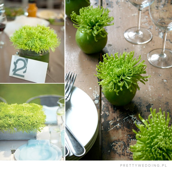 zielone aranżacje kwiatowe i numery stołów