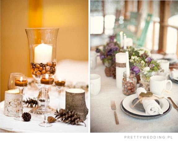 Żołędzie jako wypełniacz wazonów na stołach weselnych
