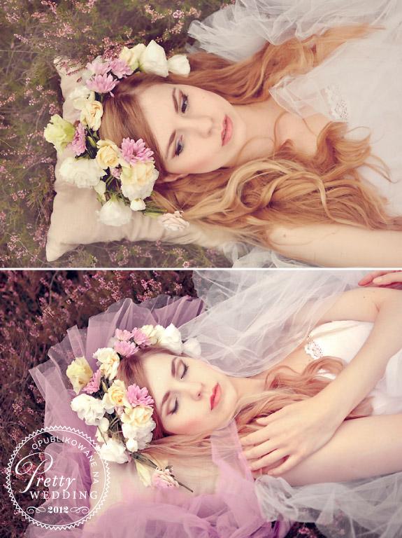 Żywe kwiaty we włosach panny młodej