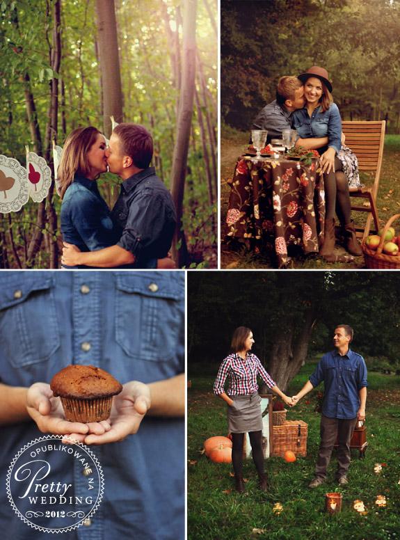 Stylizowana sesja zaręczynowa z romantycznymi dodatkami