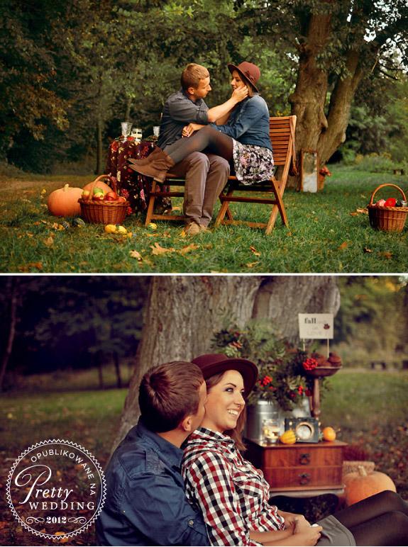 Sesja zdjęciowa w parku jesienią