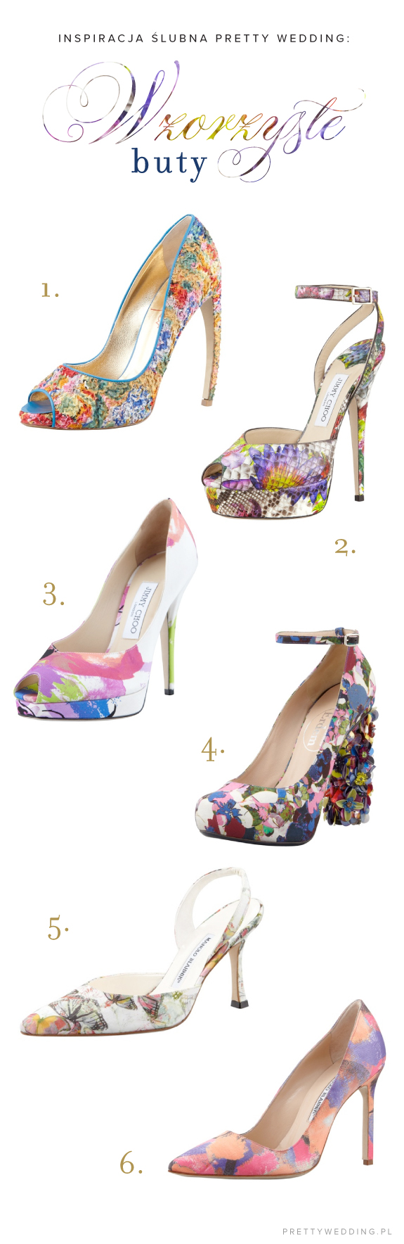 Buty w kolorowe wzory na ślub i wesele
