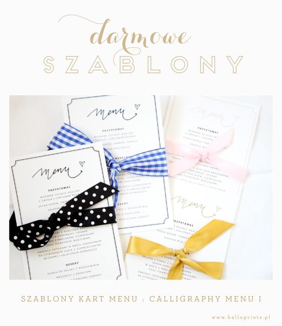 Darmowe wzory kart menu na wesele