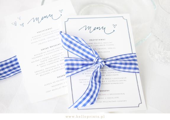 Niebieskie karty menu