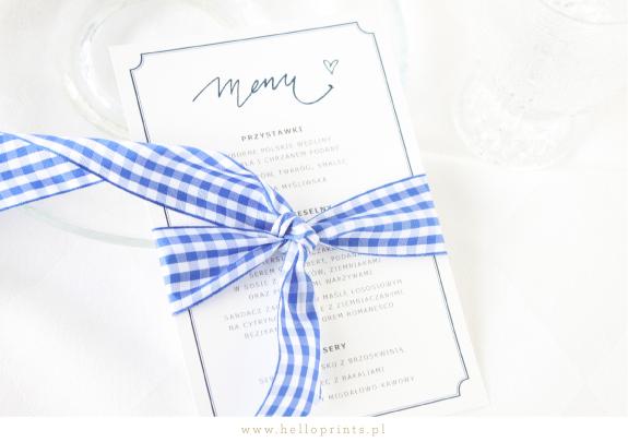 Biało granatowe karty menu do ściągnięcia na wesele