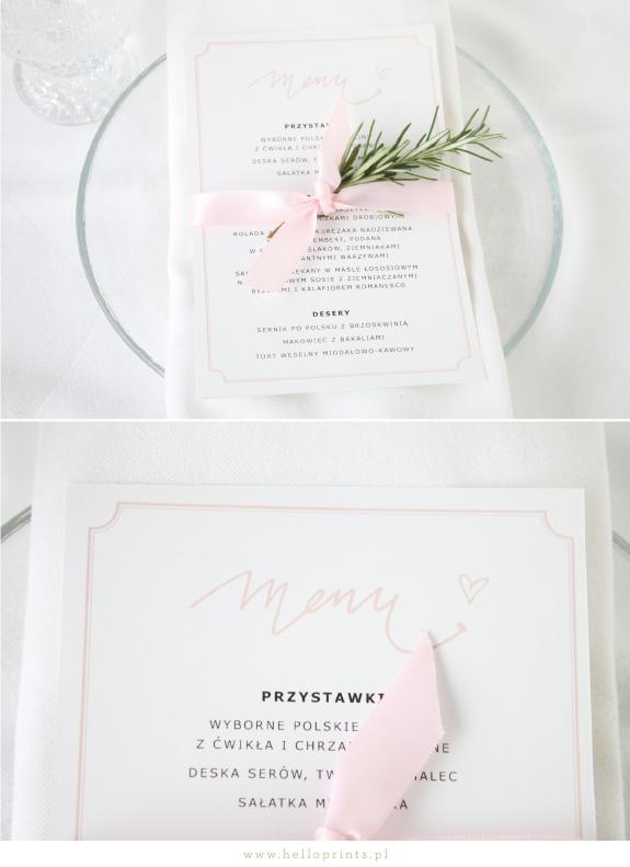 Karty menu za darmo w kolorze różowym
