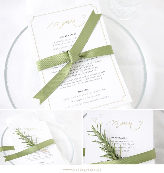 Karty menu na wesele ze złotymi akcentami