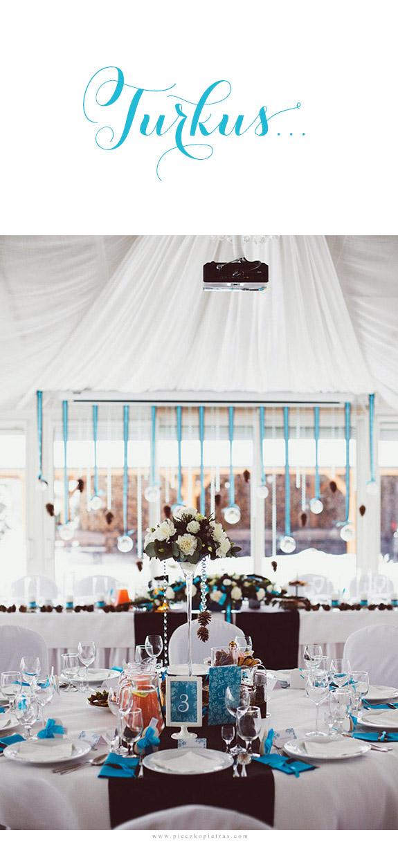 Turkus kolorem przewodnim na ślubie