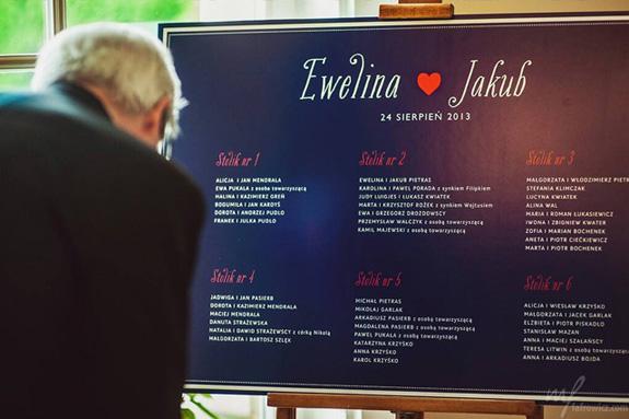 Tablica usadzenia gości weselnych