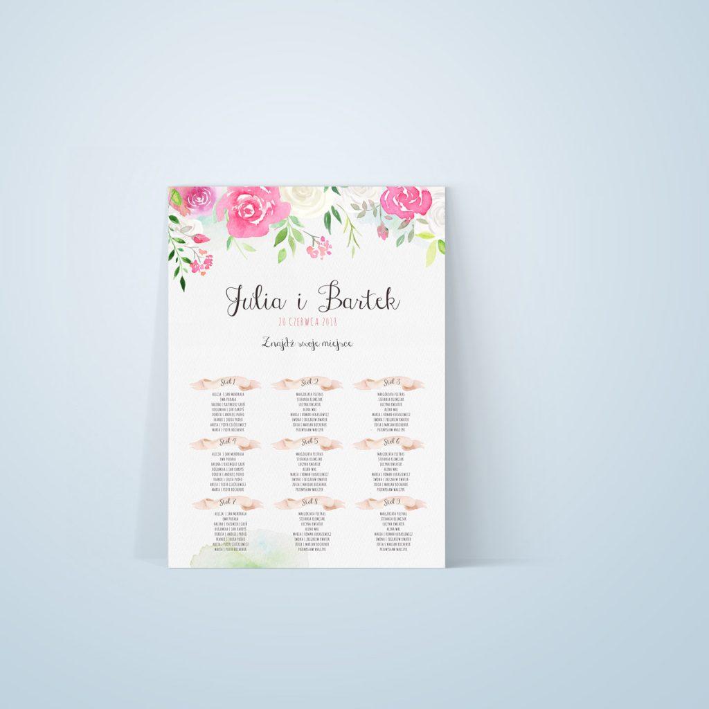 Plan stołów z różowymi różami