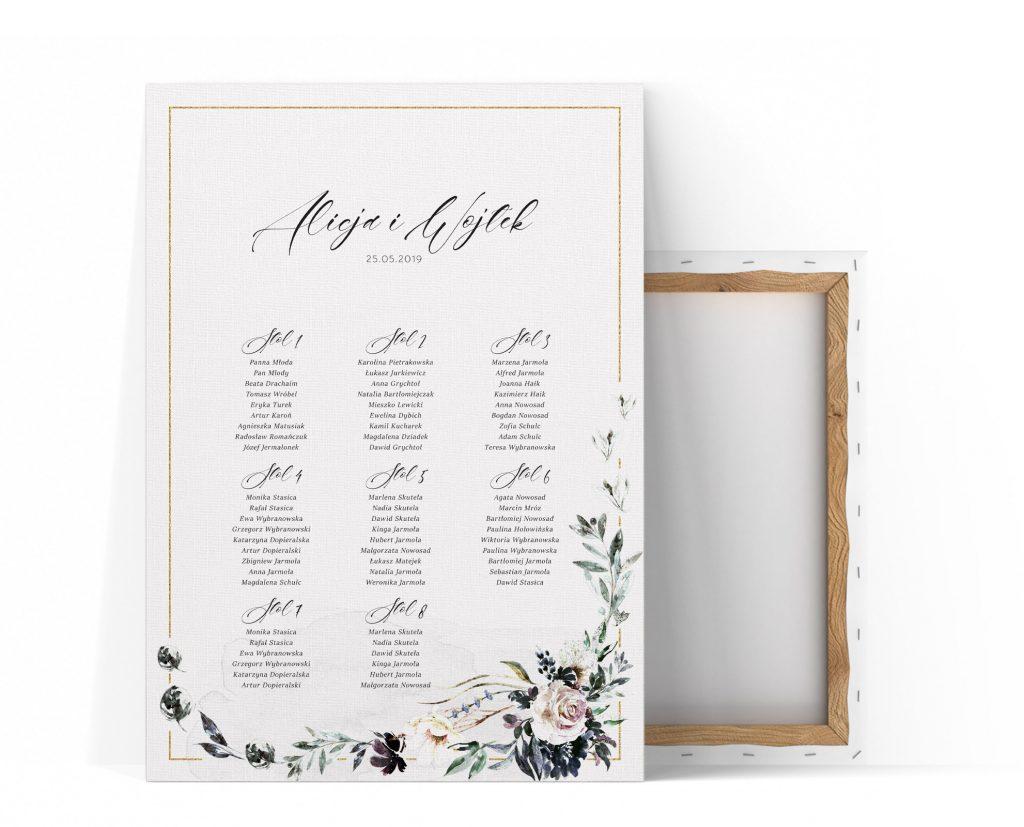 Plan stołów kwiatowy, elegancki