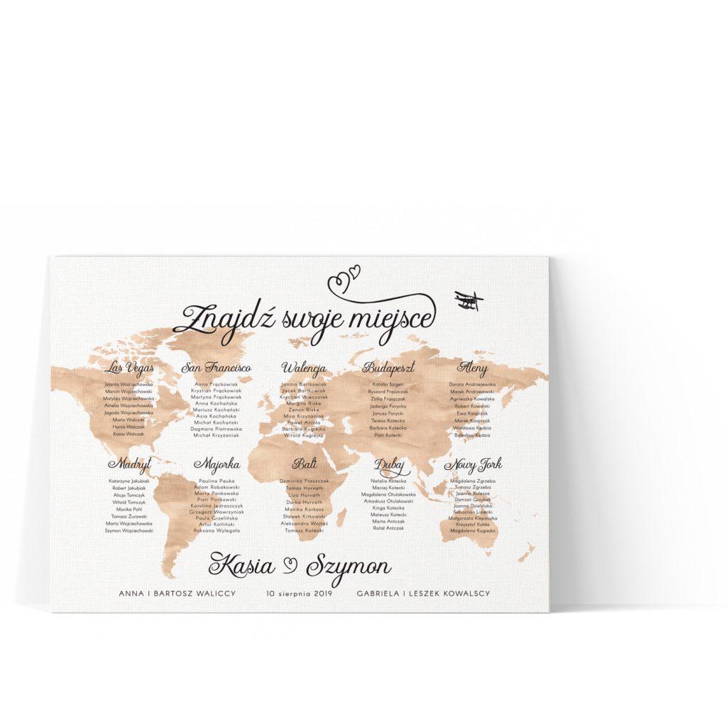 Brązowa mapa świata, wydruk na płótnie