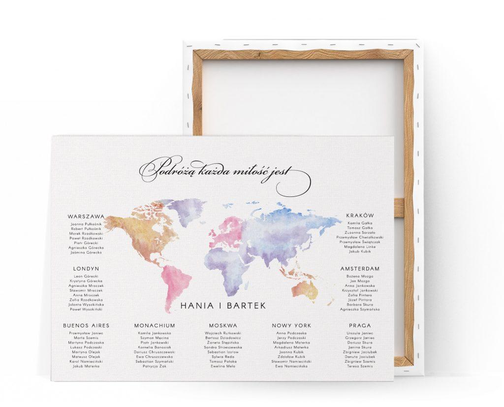 Plan usadzenia gości z mapą świata