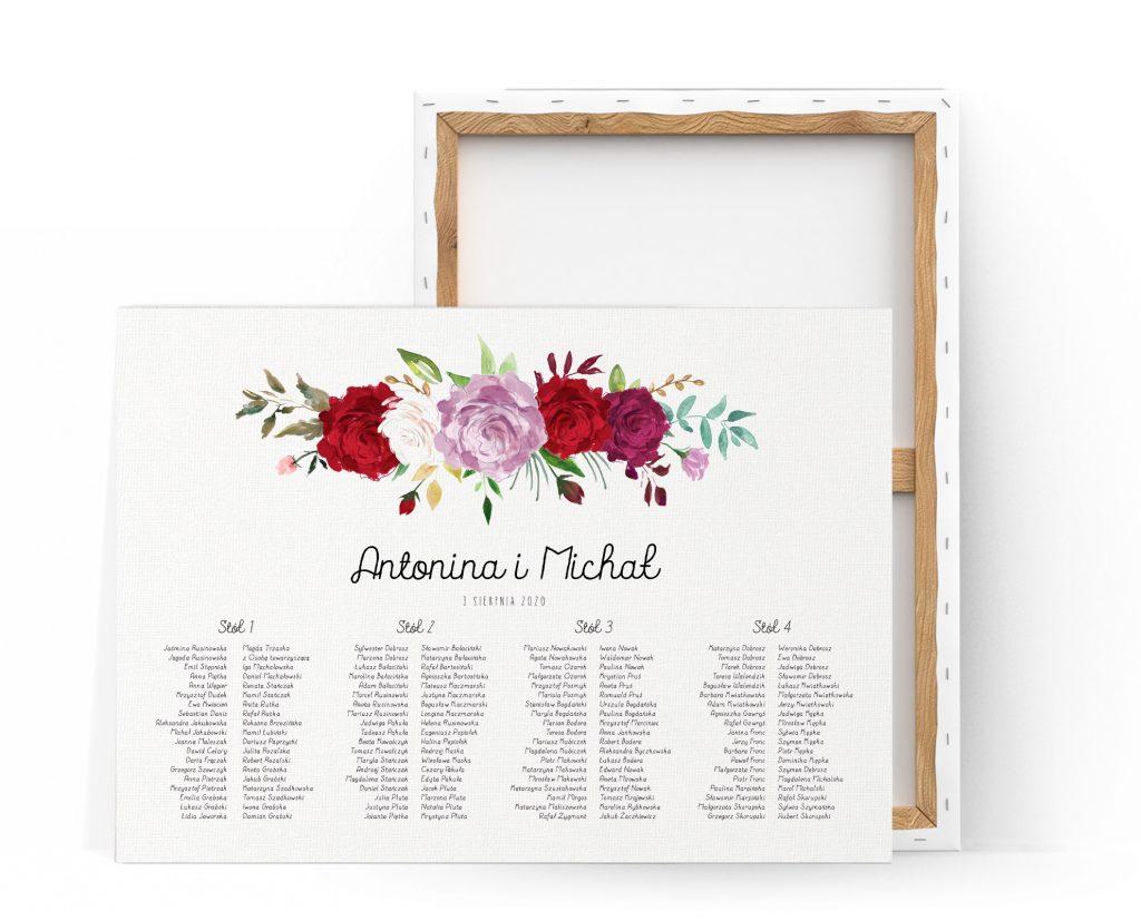Plan stołów z motywem róż